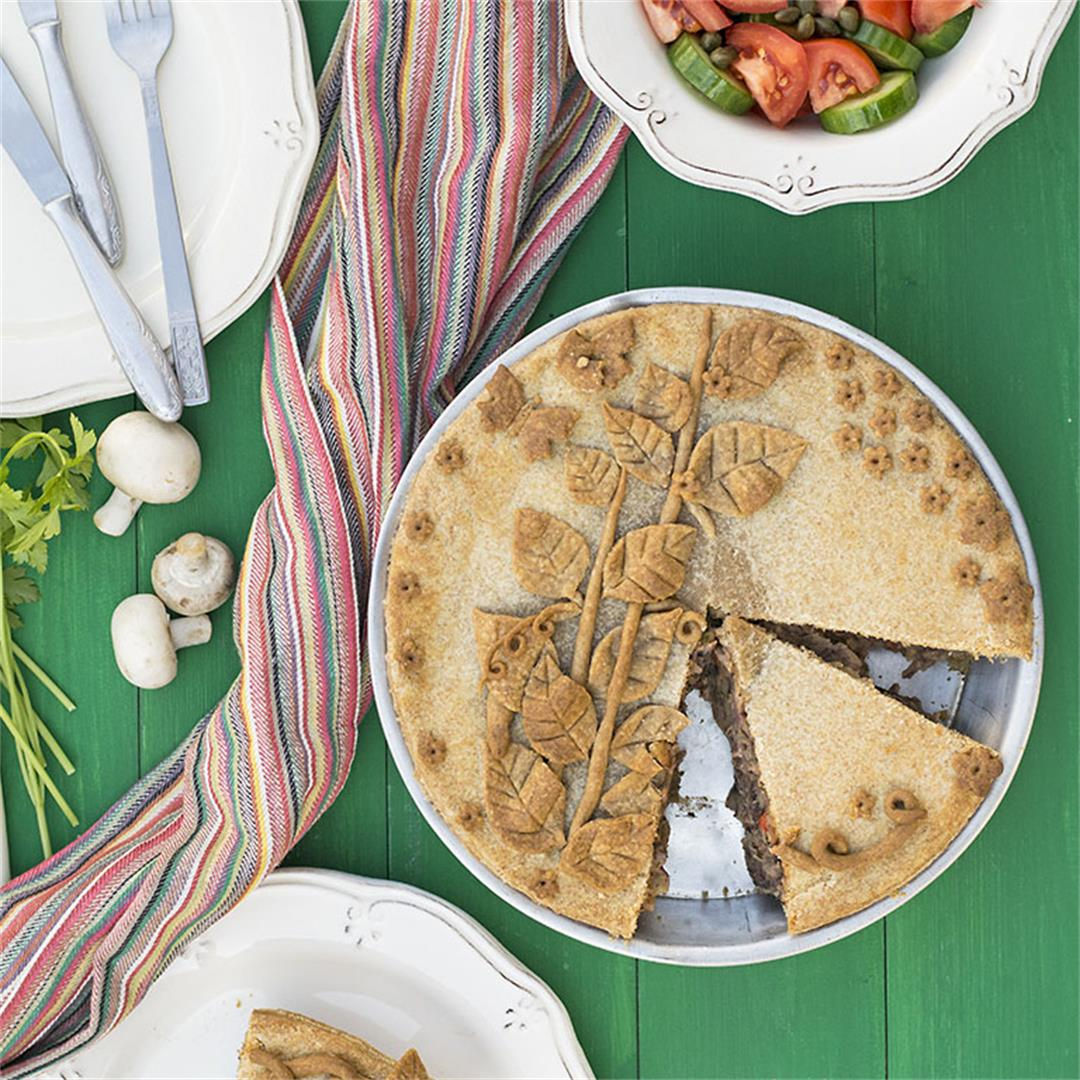 Vegan savory pie with vegetables and red bean puree