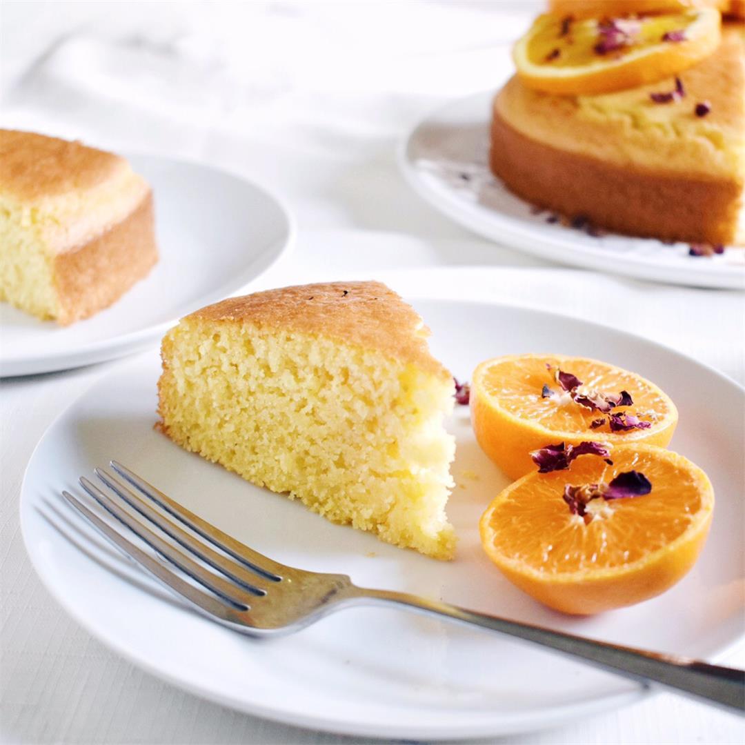 Orange and Rose Polenta Cake (vegan)