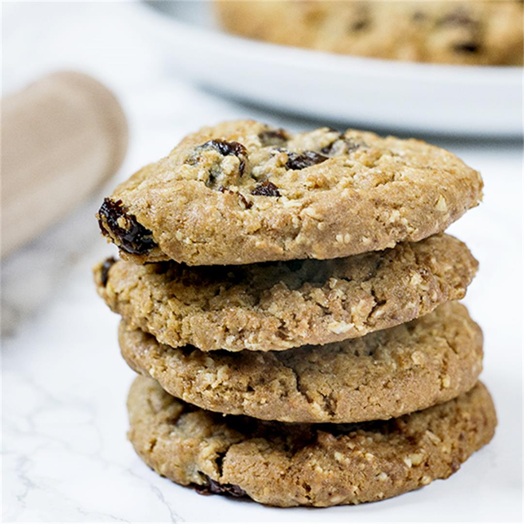 Oatmeal cookies with rum soaked raisins