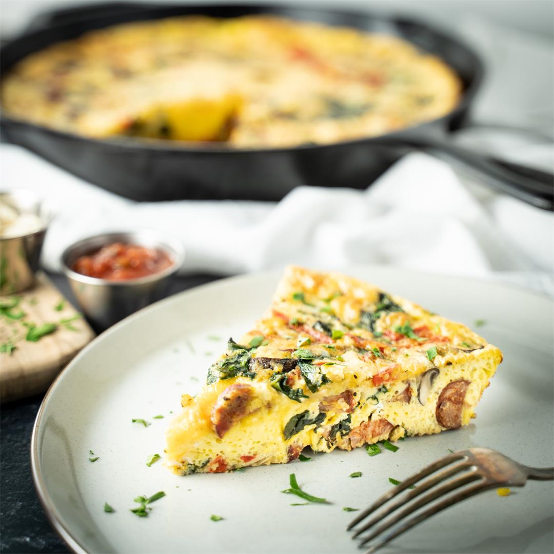 This chorizo and spinach frittata recipe is quick and delicious
