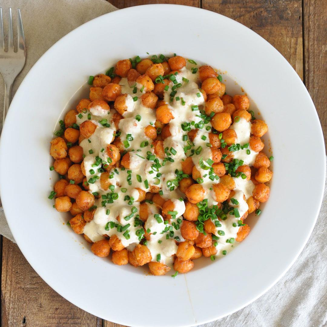 Roasted Spanish Garbanzo Beans with Creamy Garlic Sauce