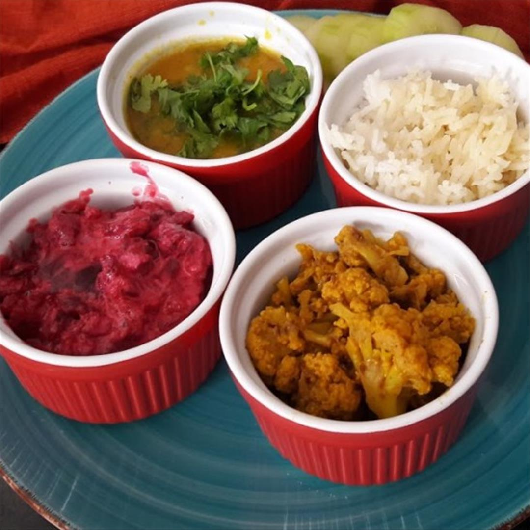 Colorful Easy Indian Thali-InstantPot- Glutenfree