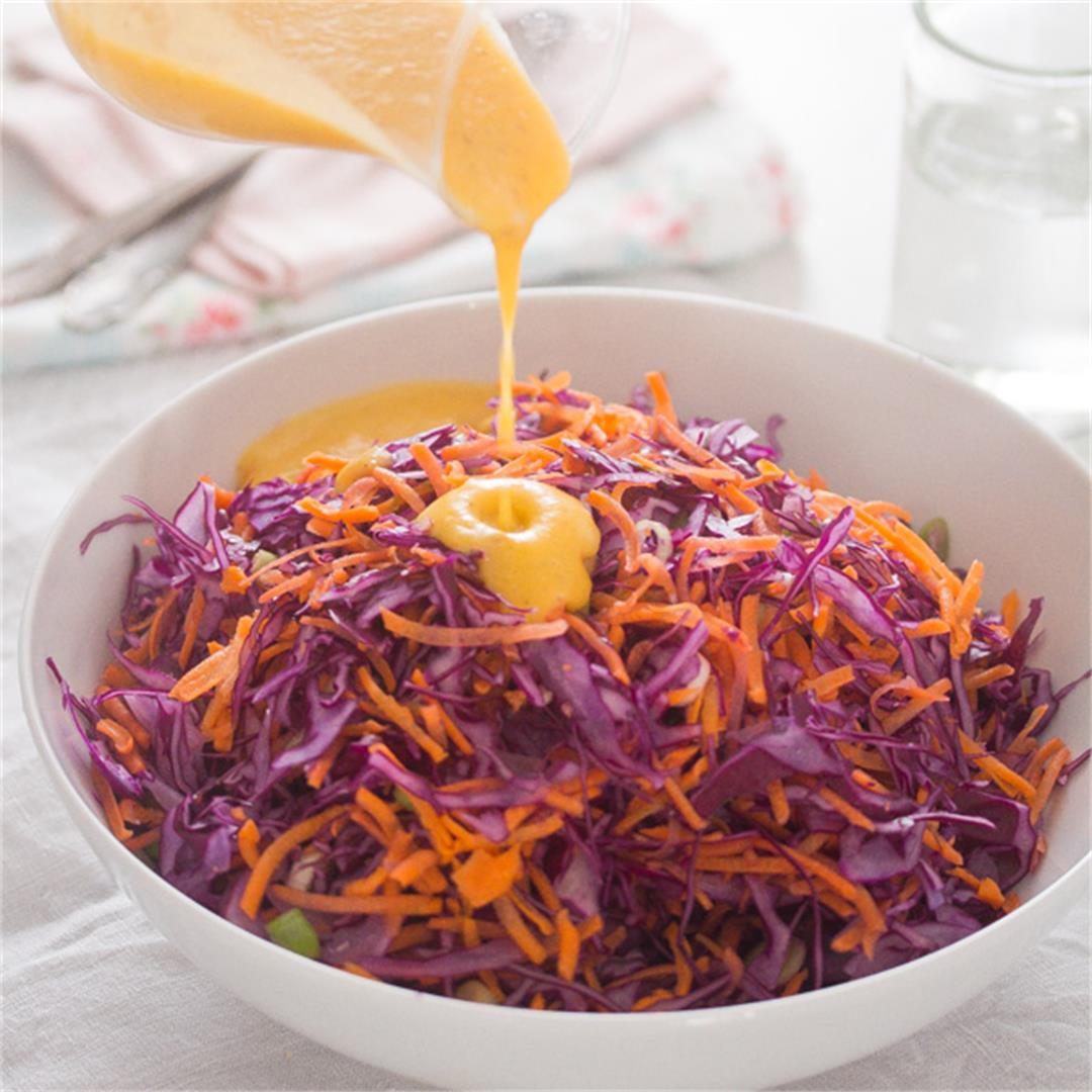 Red Cabbage Slaw with Peach Salad Dressing