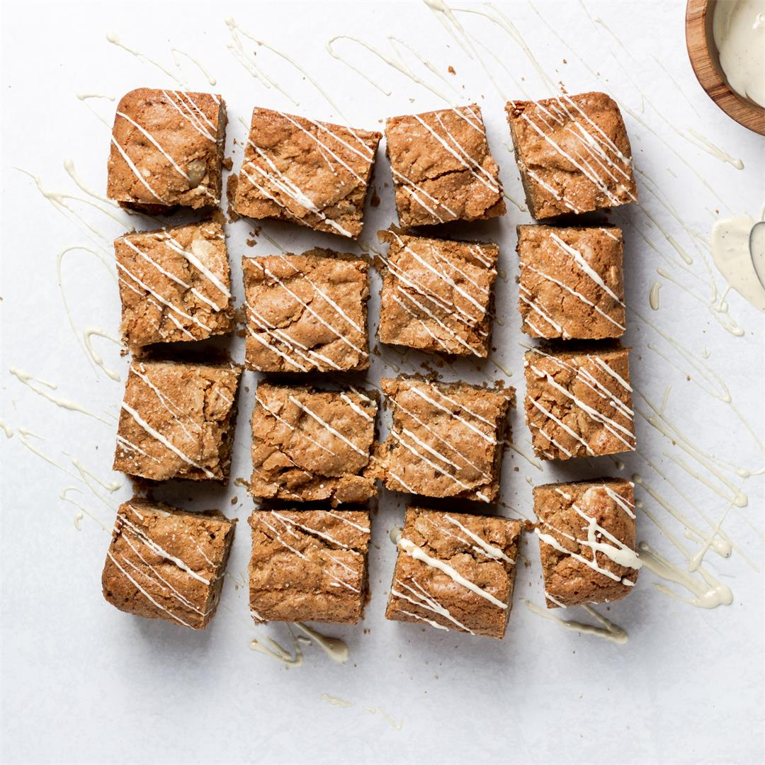 Caramelized White Chocolate and Almond Blondies