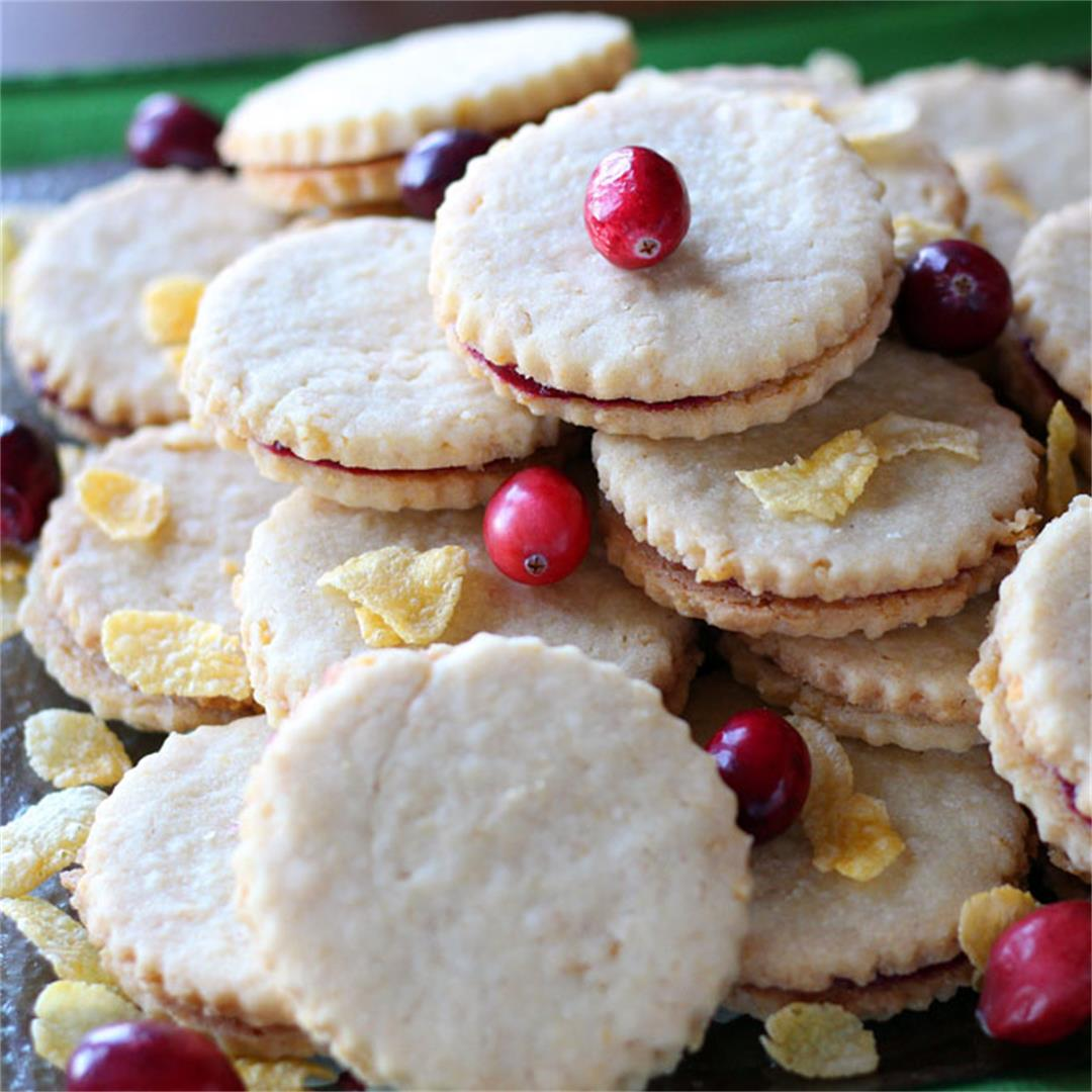 Corn Flake Shortbread and Cranberry Jam Cookies Sandwiches