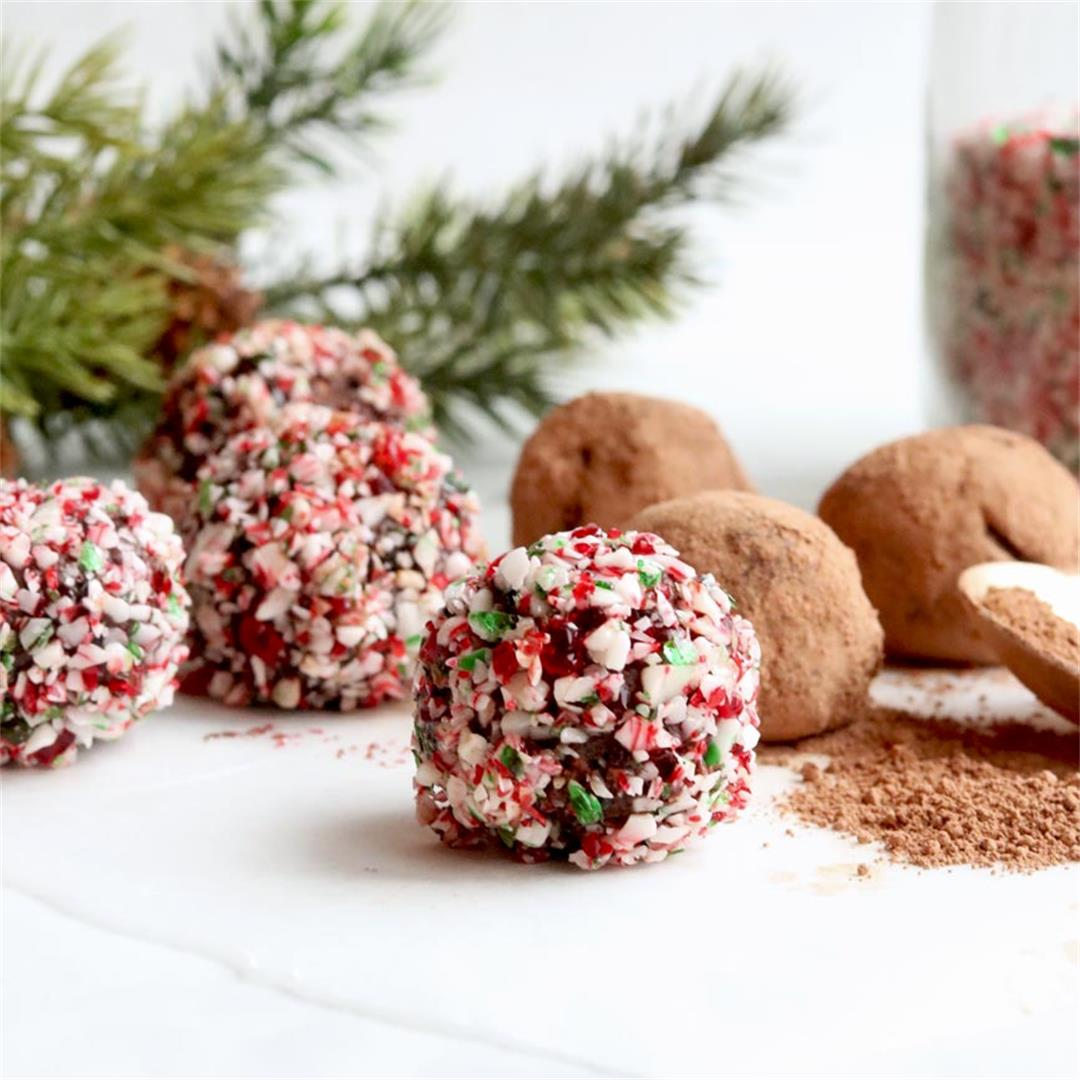 4 Ingredient Crushed Candy Cane Peppermint Truffles