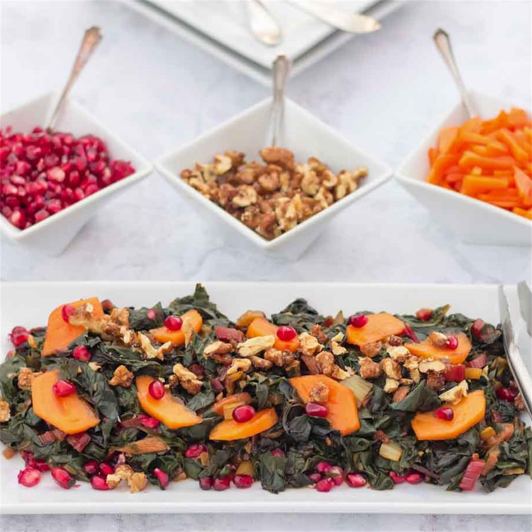 Swiss Chard & Persimmon Sautee (festive winter dish, oil-free)