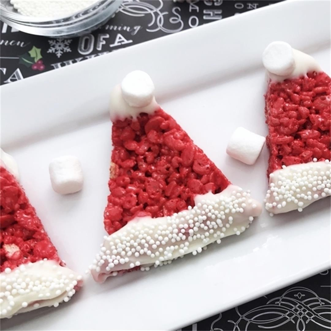 Santa Hat Rice Krispie Treats