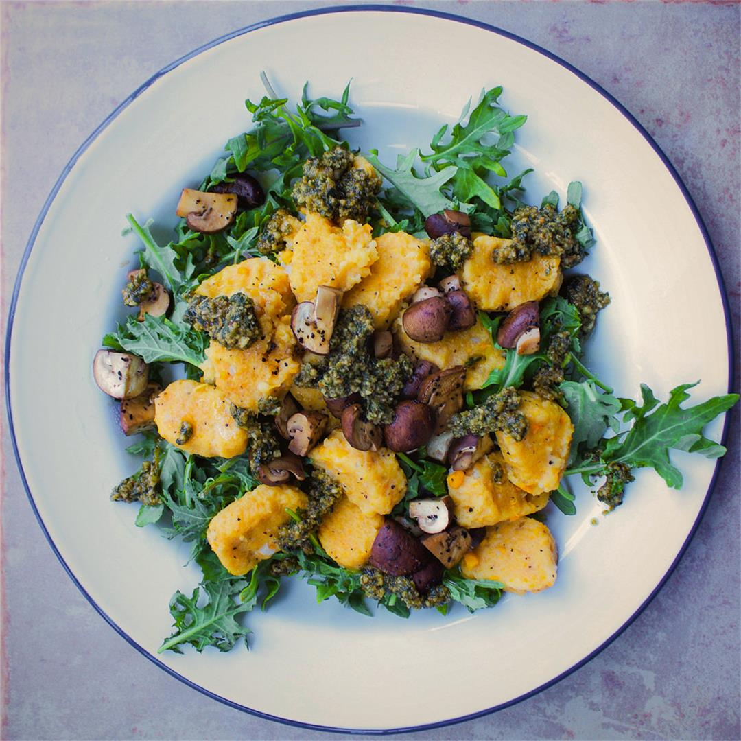 Yam Gnocchi with Basil Pesto & Mushrooms (vegan + gf)