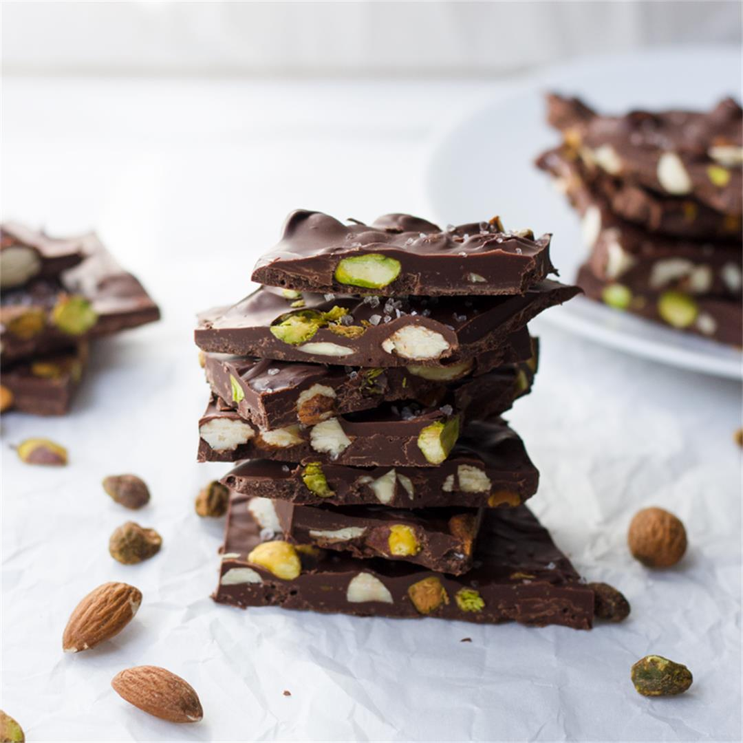 Pistachio and Almond Chocolate Bark