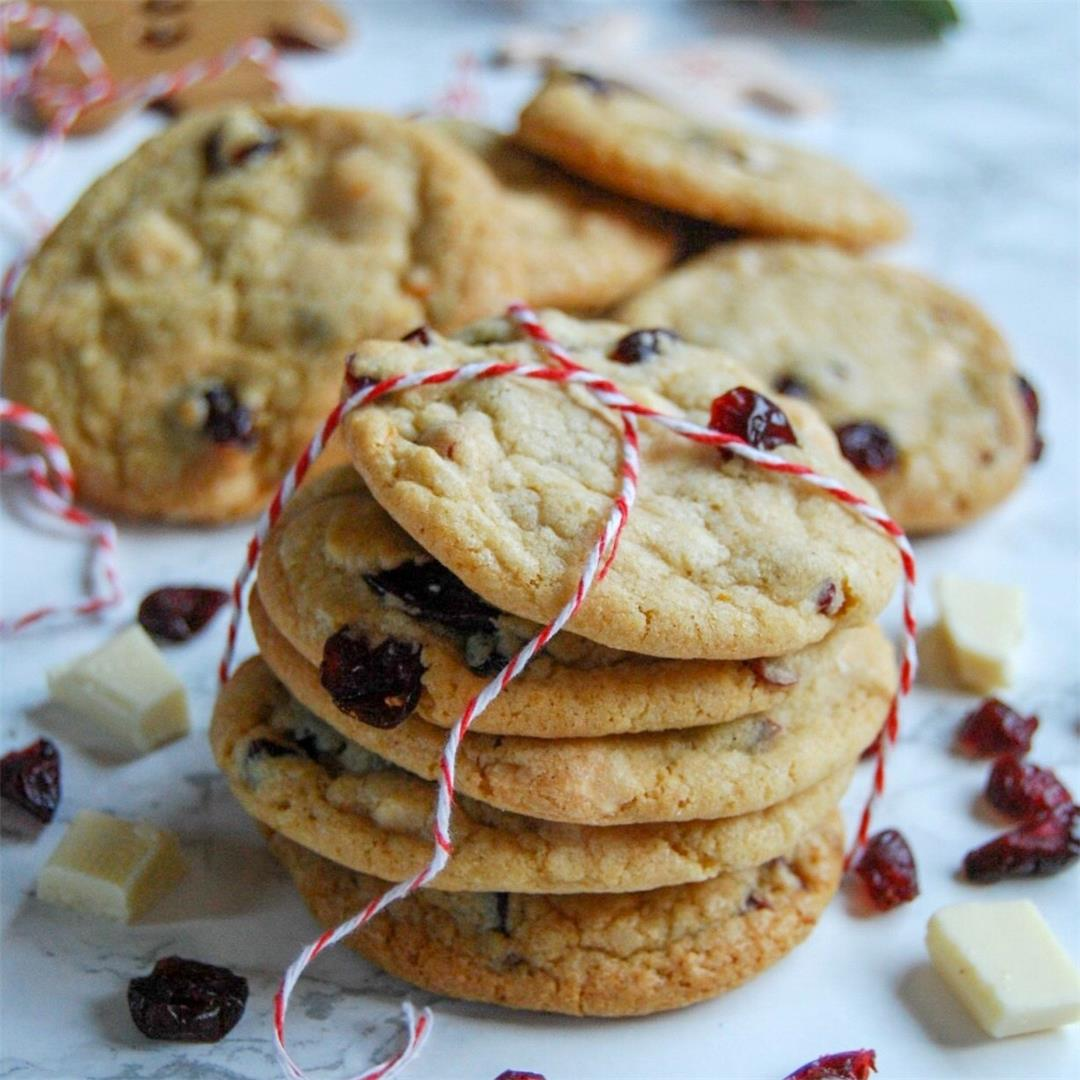 White chocolate, orange and cranberry cookies