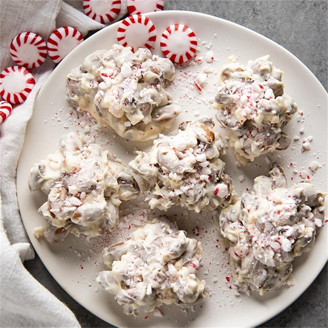White Chocolate Peppermint Almond Clusters