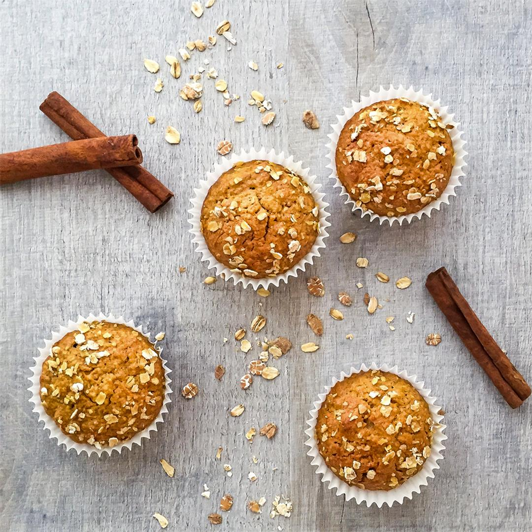 Dairy Free Carrot Oat Muffins with Ginger and Cinnamon