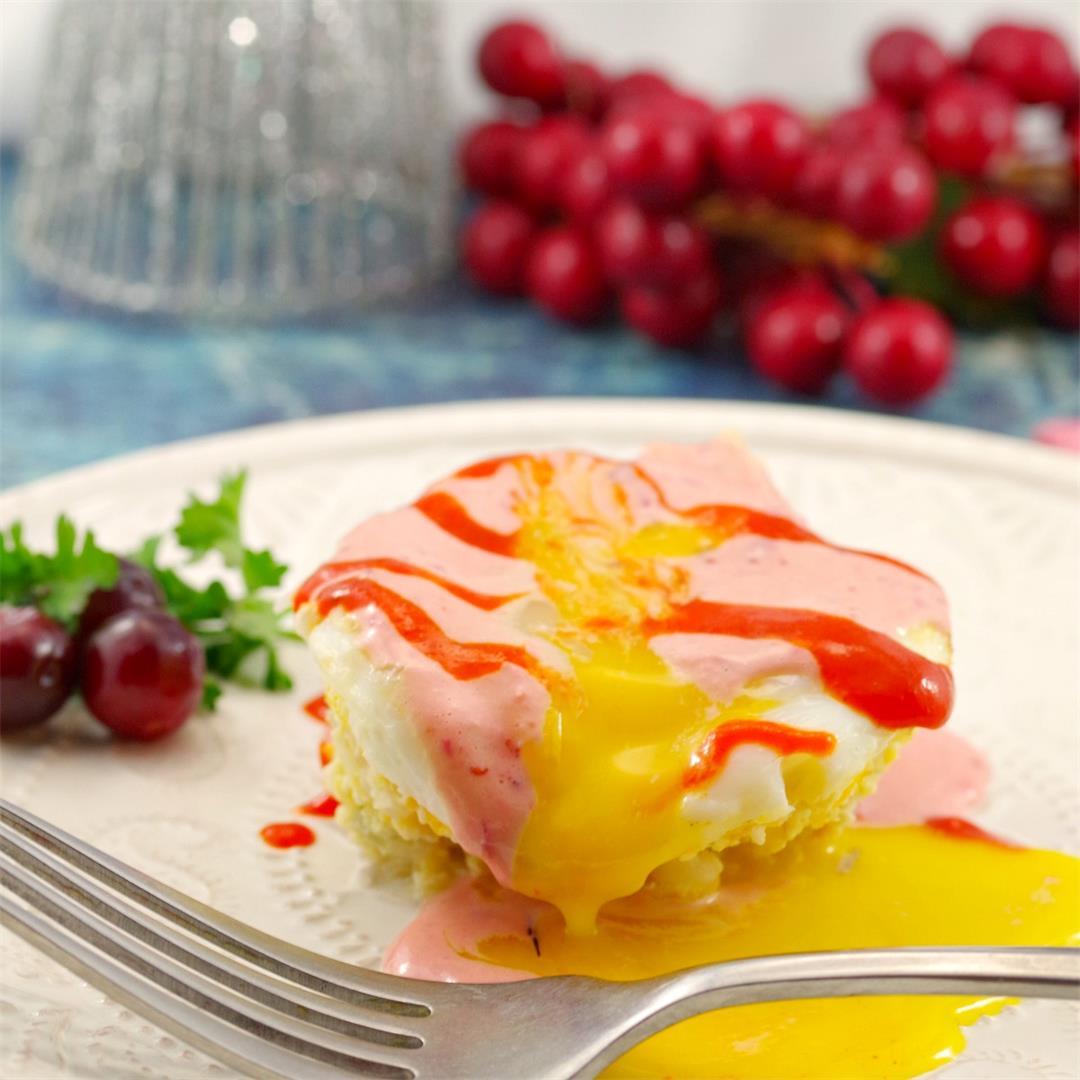 Gluten-free Ham & Rice Benedict with Cranberry Hollandaise