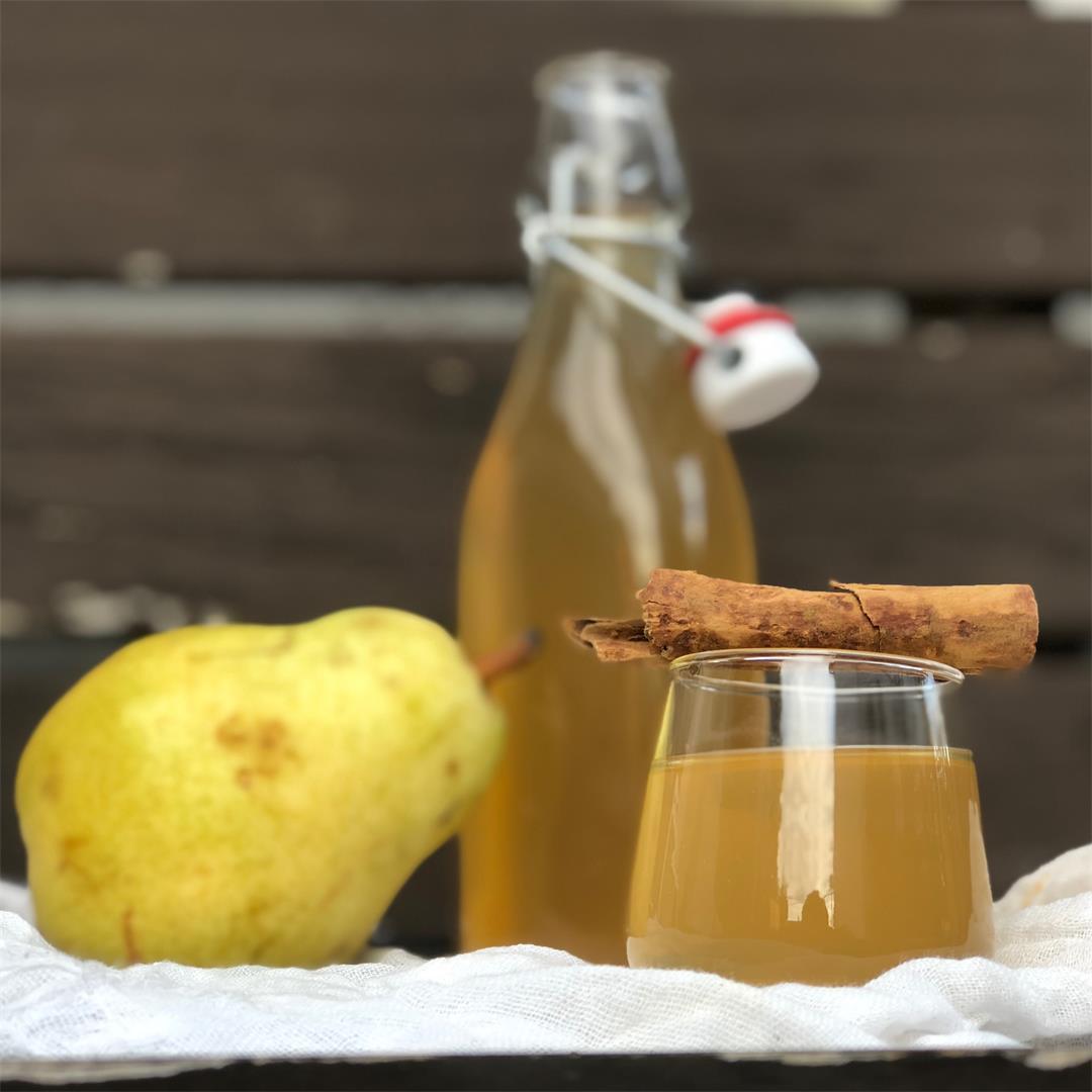 Homemade Poached Pear Liqueur