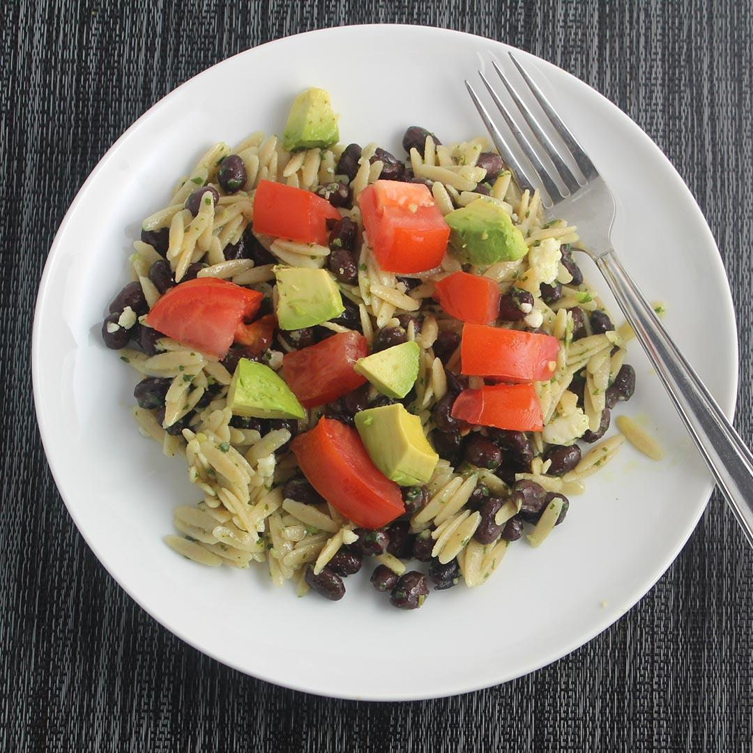Orzo with Cilantro Pesto and Black Beans