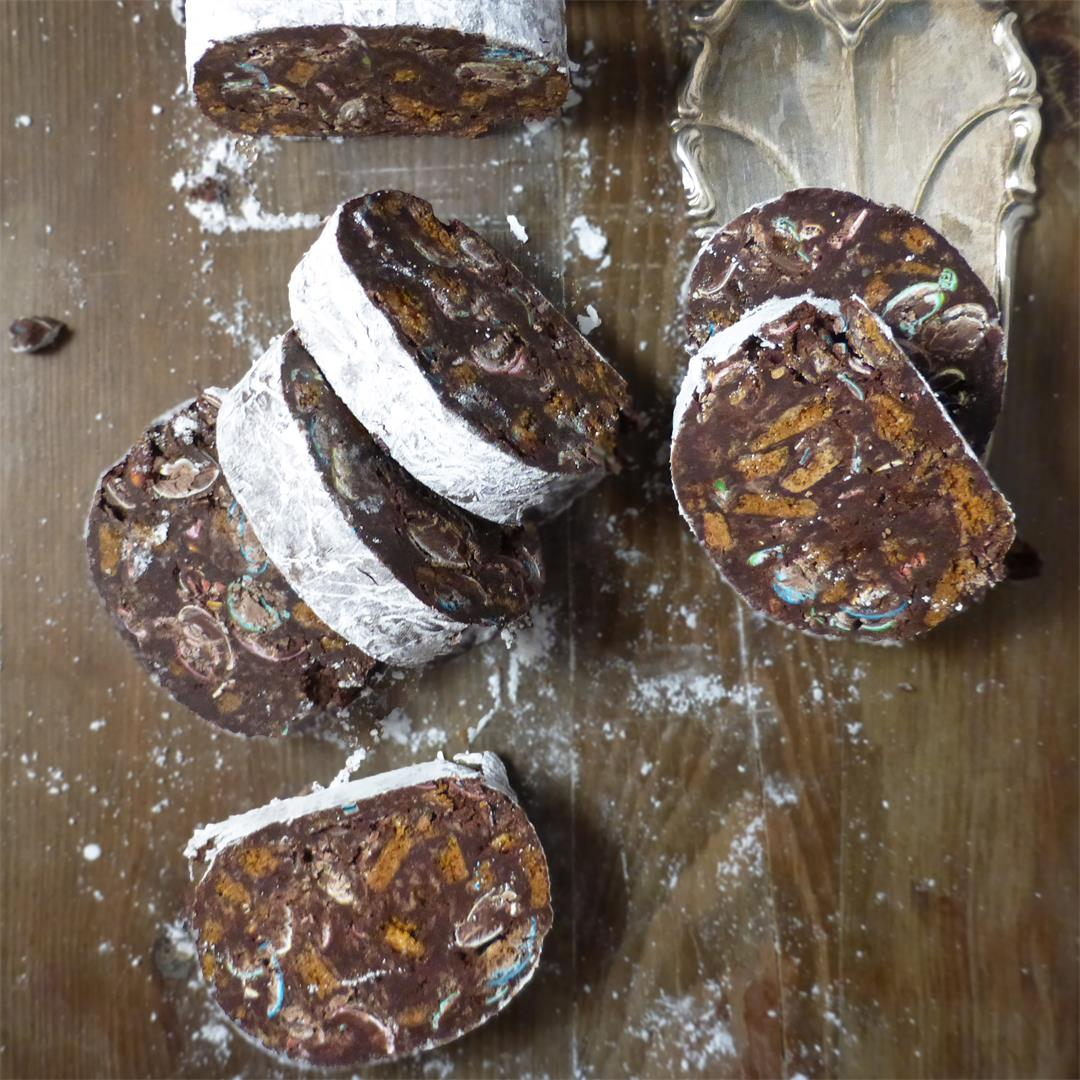 No-Bake Christmas Chocolate Salami