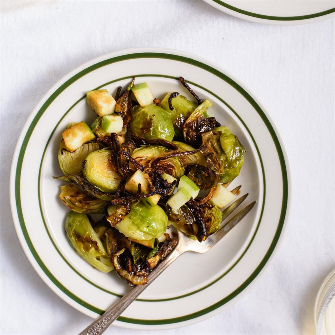 Charred Brussels Sprouts with Fried Shallots, Apple & Balsamic