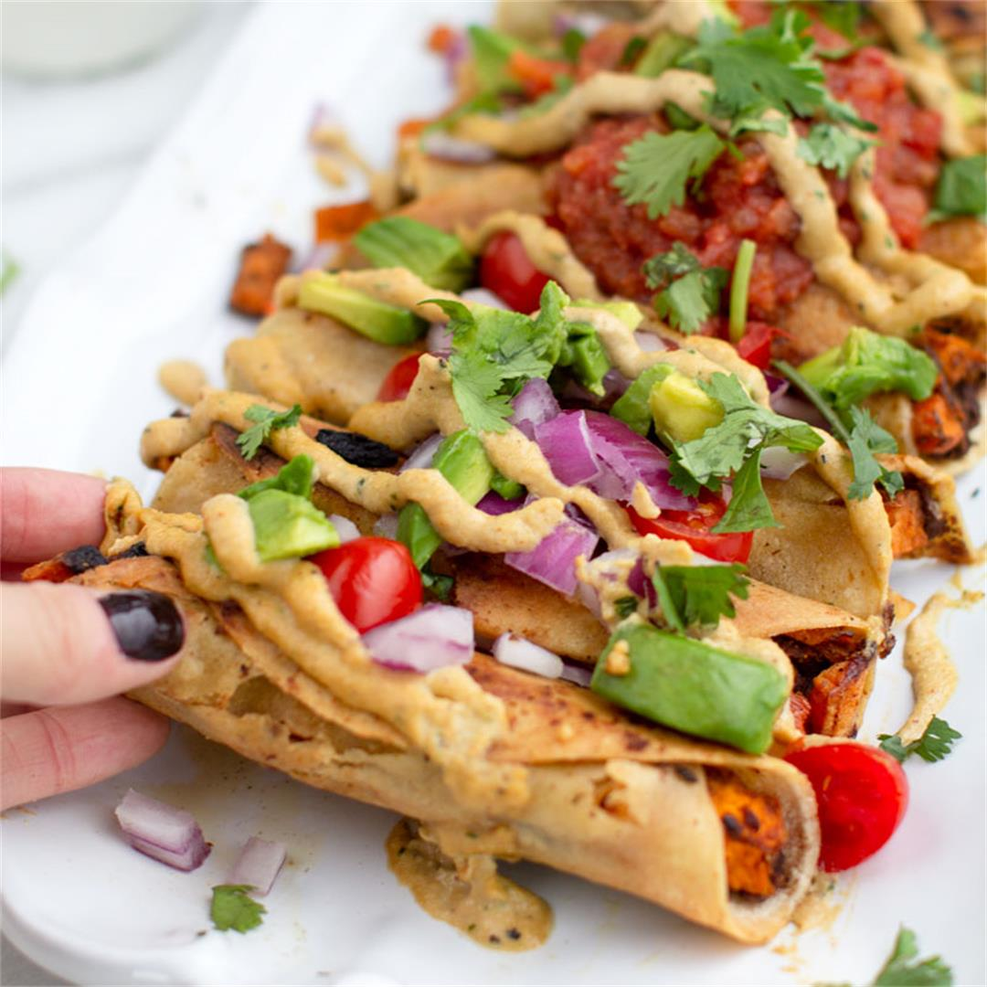 Loaded Sweet Potato Black Bean Taquitos