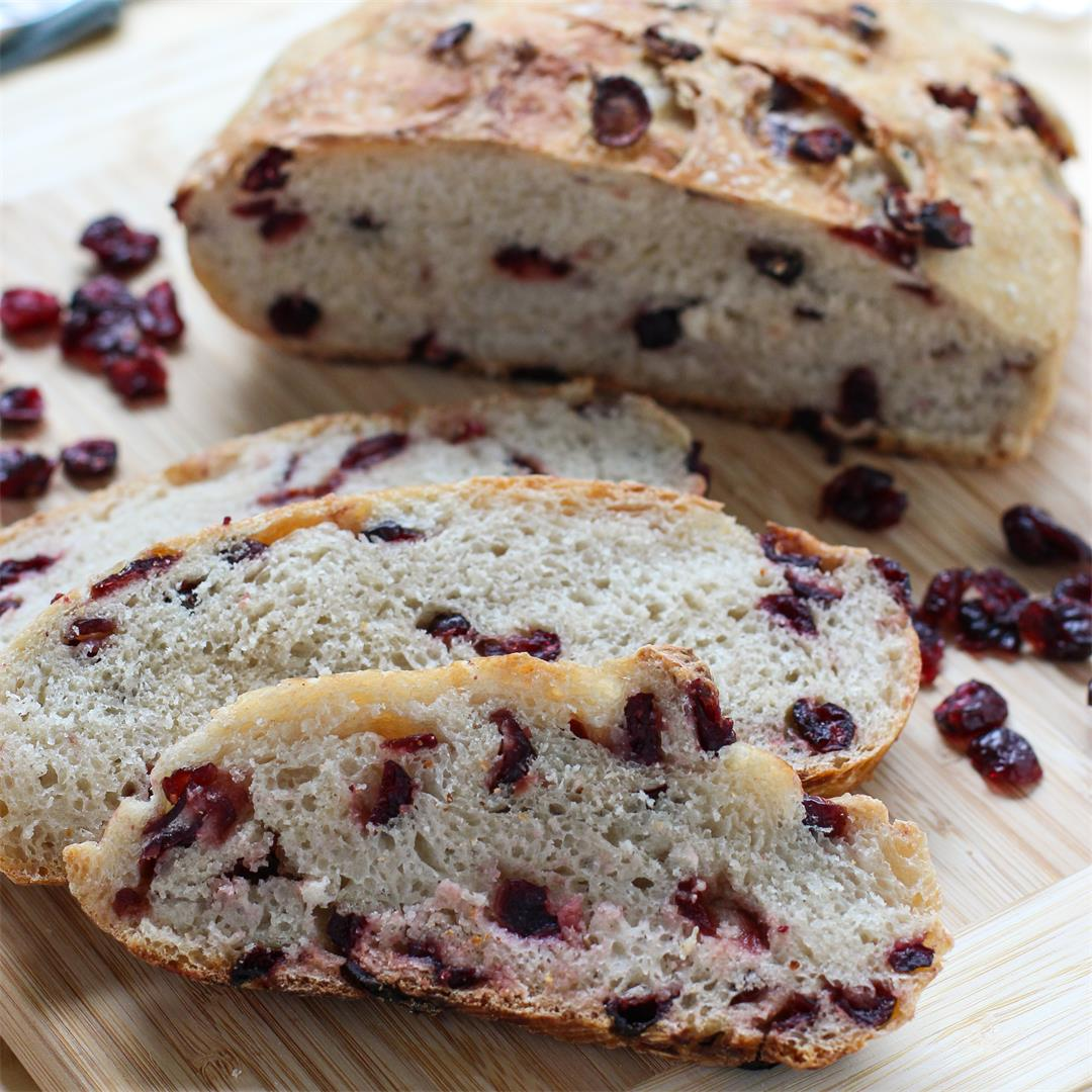 No-Knead Cranberry Bread