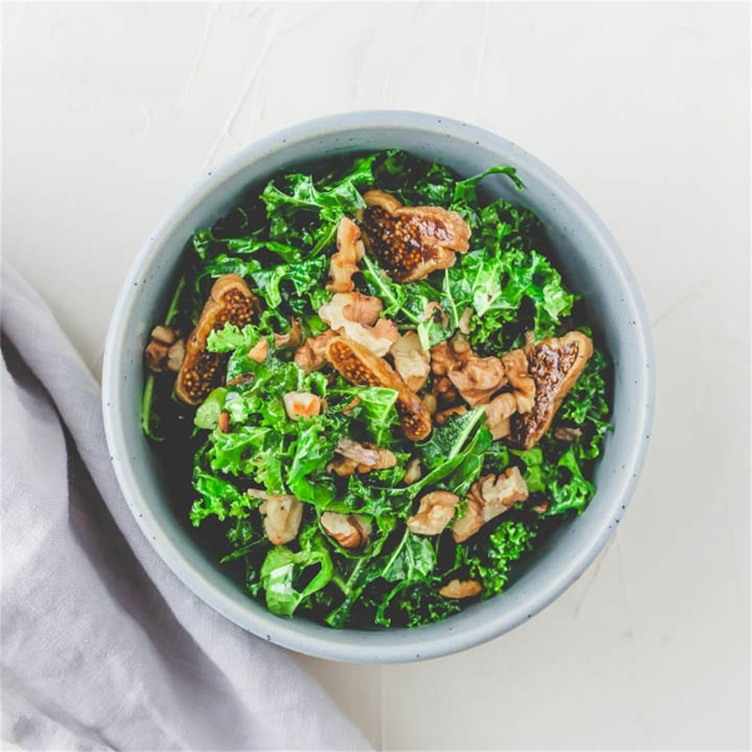 Vegan Kale Salad with Walnuts and Figs