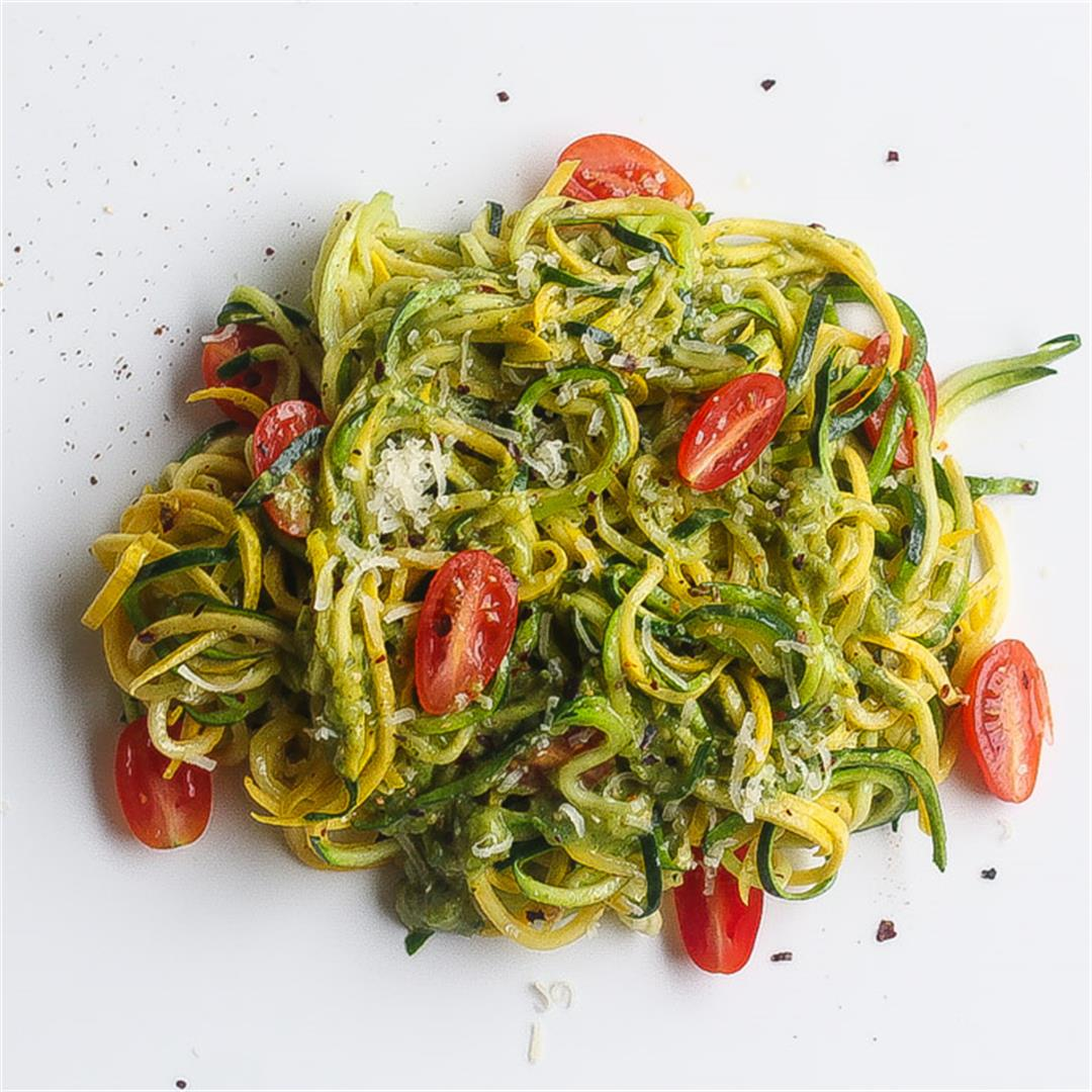 Zucchini Noodles With Collard Greens Salsa Verde