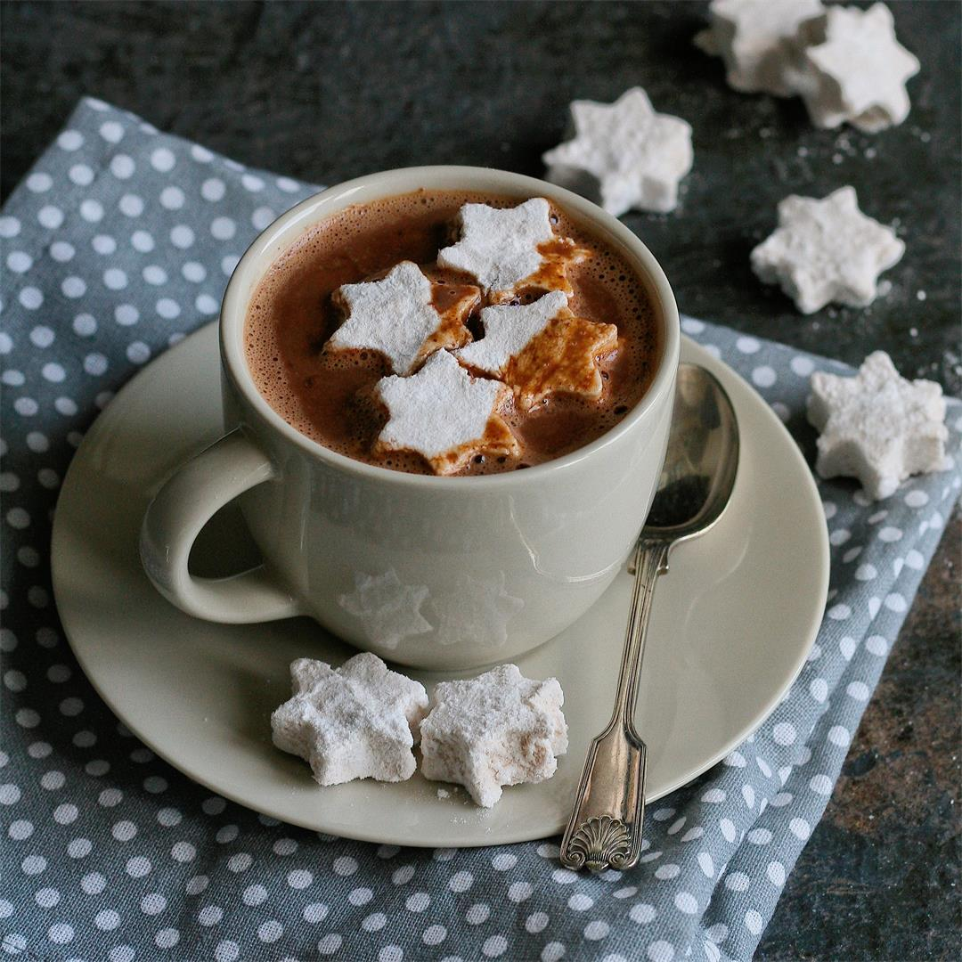 Holiday hot chocolate with cinnamon marshmallows