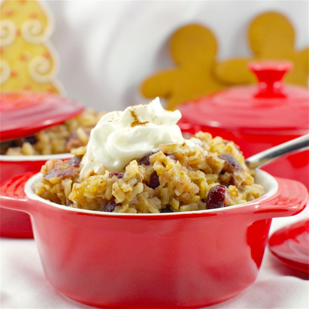 Gluten-free Cranberry Gingerbread Stovetop Rice Pudding