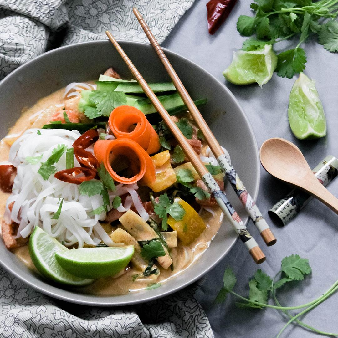 Thai Red Vegetable Curry with Rice Noodles