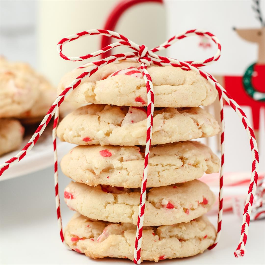 White Chocolate Peppermint Kiss Cookies -6 ingredients, 15 mins