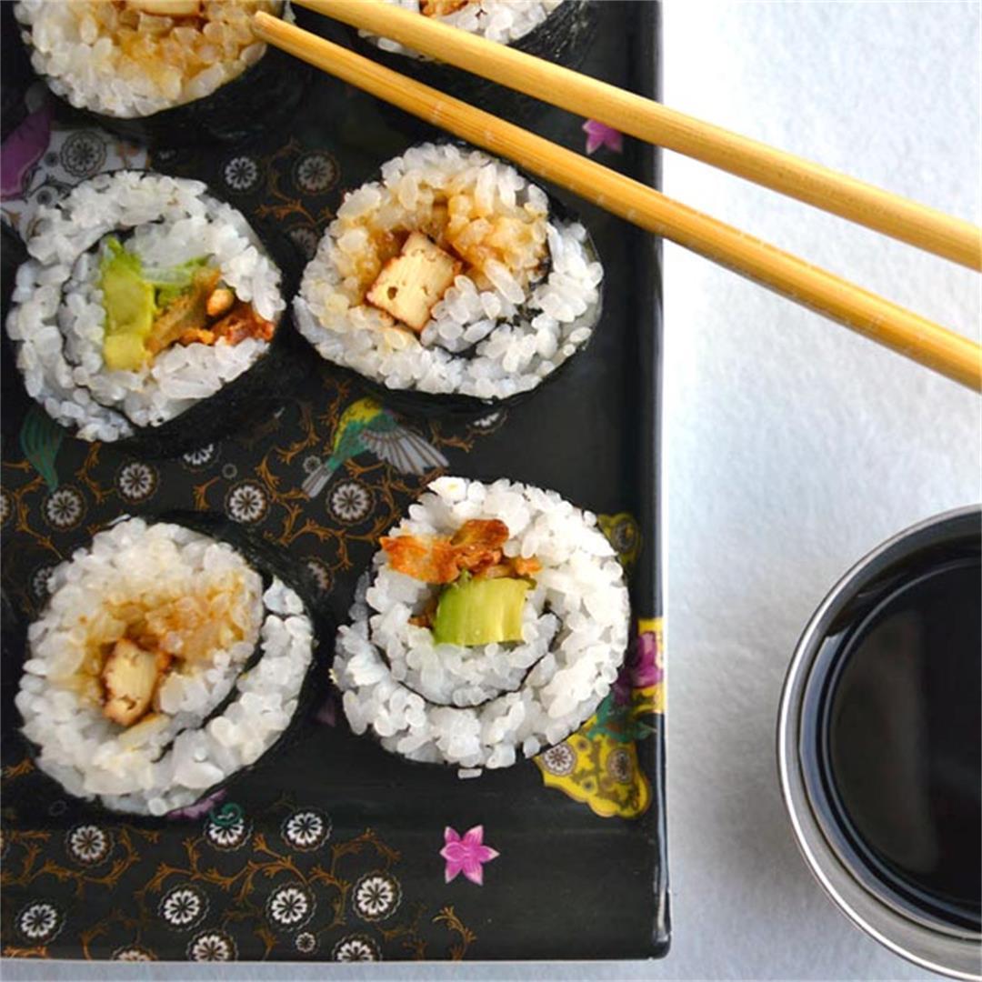 Crunchy Onion Avocado & Teriyaki Tofu Sushi (Vegan)