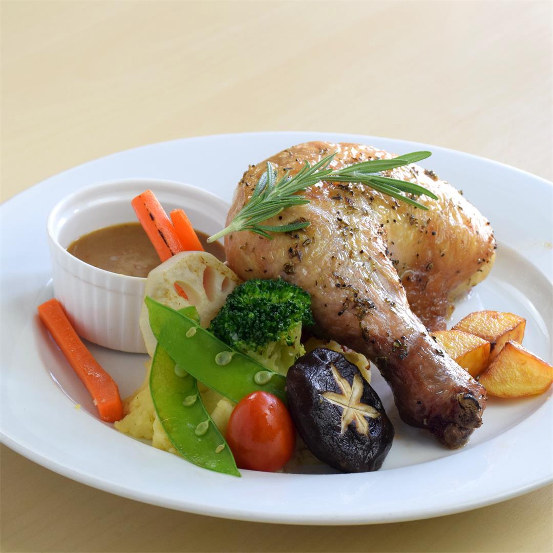 The juiciest roast chicken legs we ever roasted.