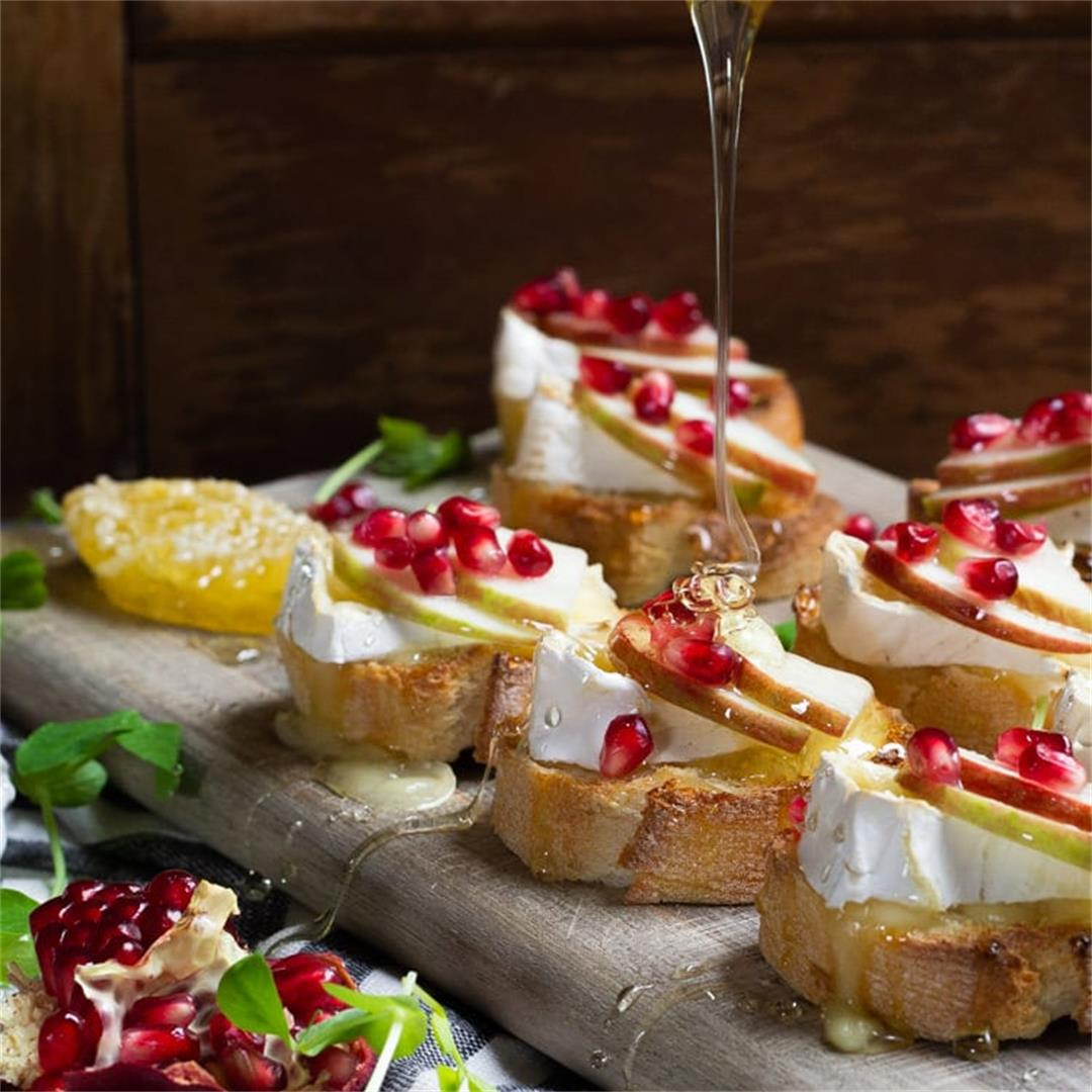 Apple Brie Crostini with Pomegranate Seeds
