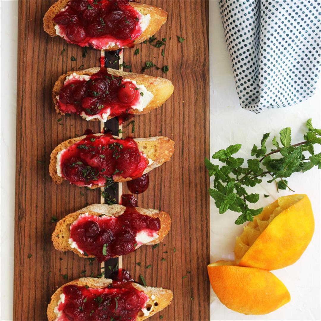 Fresh Ricotta and Spiced Cranberry Crostini