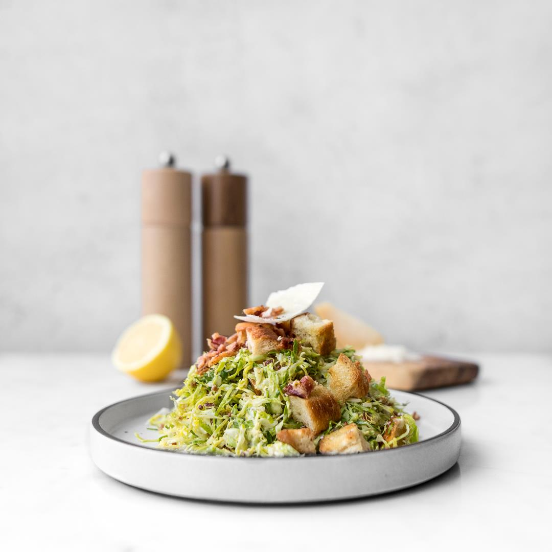 Shaved Brussels Sprout Caesar Salad