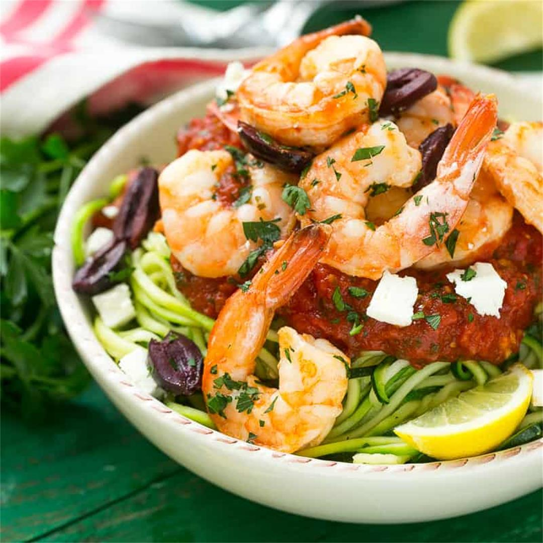 Greek Shrimp Scampi with Zucchini Noodles