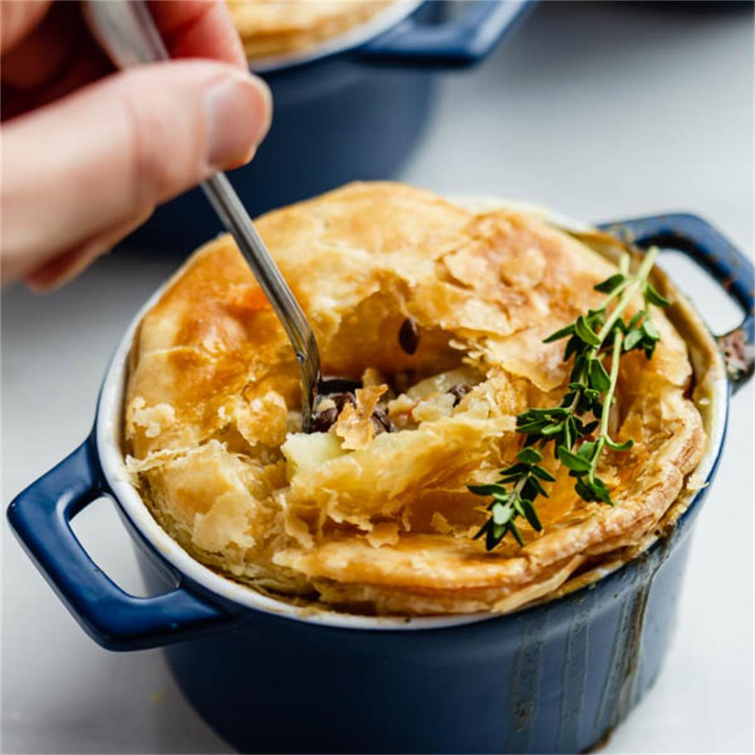 Veggie Pot Pies with Puff Pastry Crust