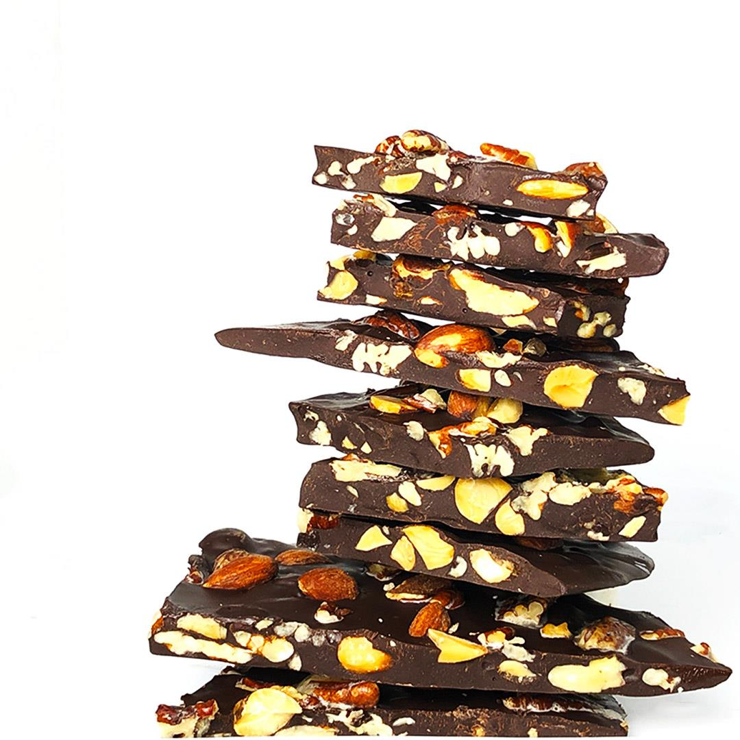 Dark Chocolate Bark w/ Buttery Pecans & Smoky Almonds