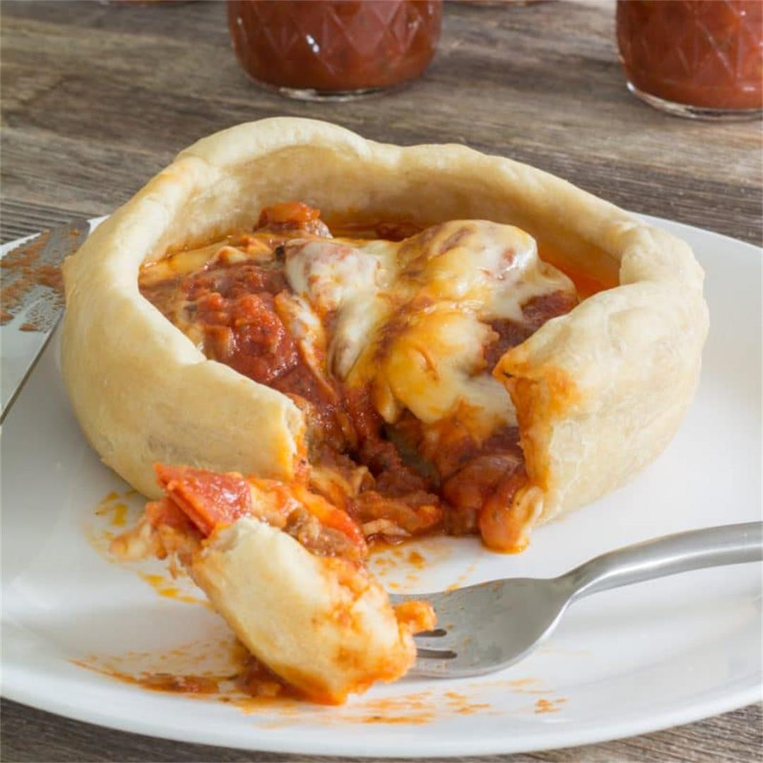 Pizza Pot Pie - Pizza baked upside down with the crust on top