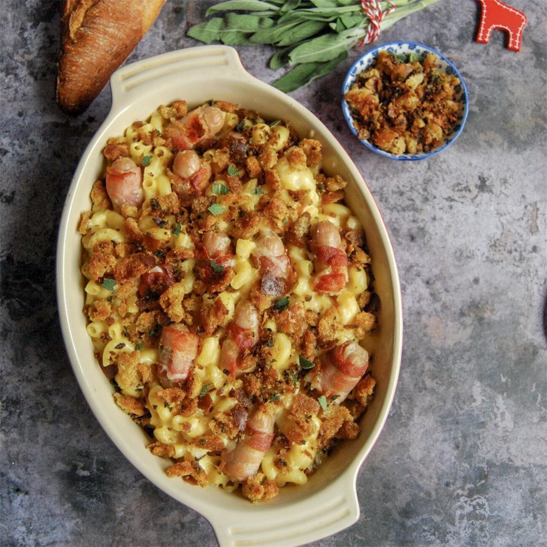Pigs in blankets macaroni cheese