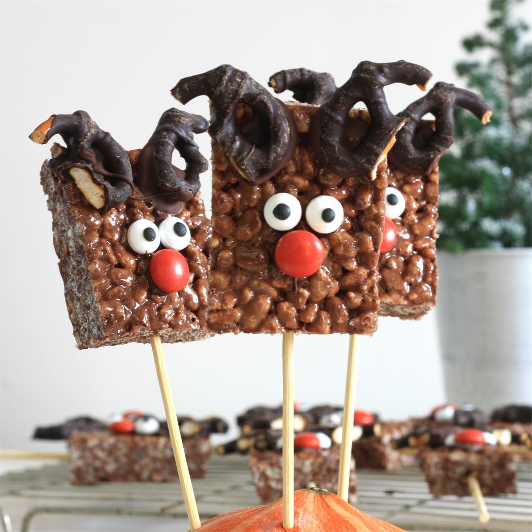 Crispy Chocolate Rudolph Pops