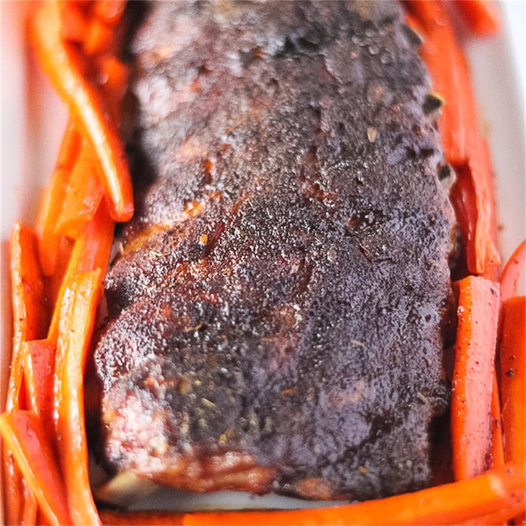 Sheet Pan Baby Back Ribs with Caramelized Carrots