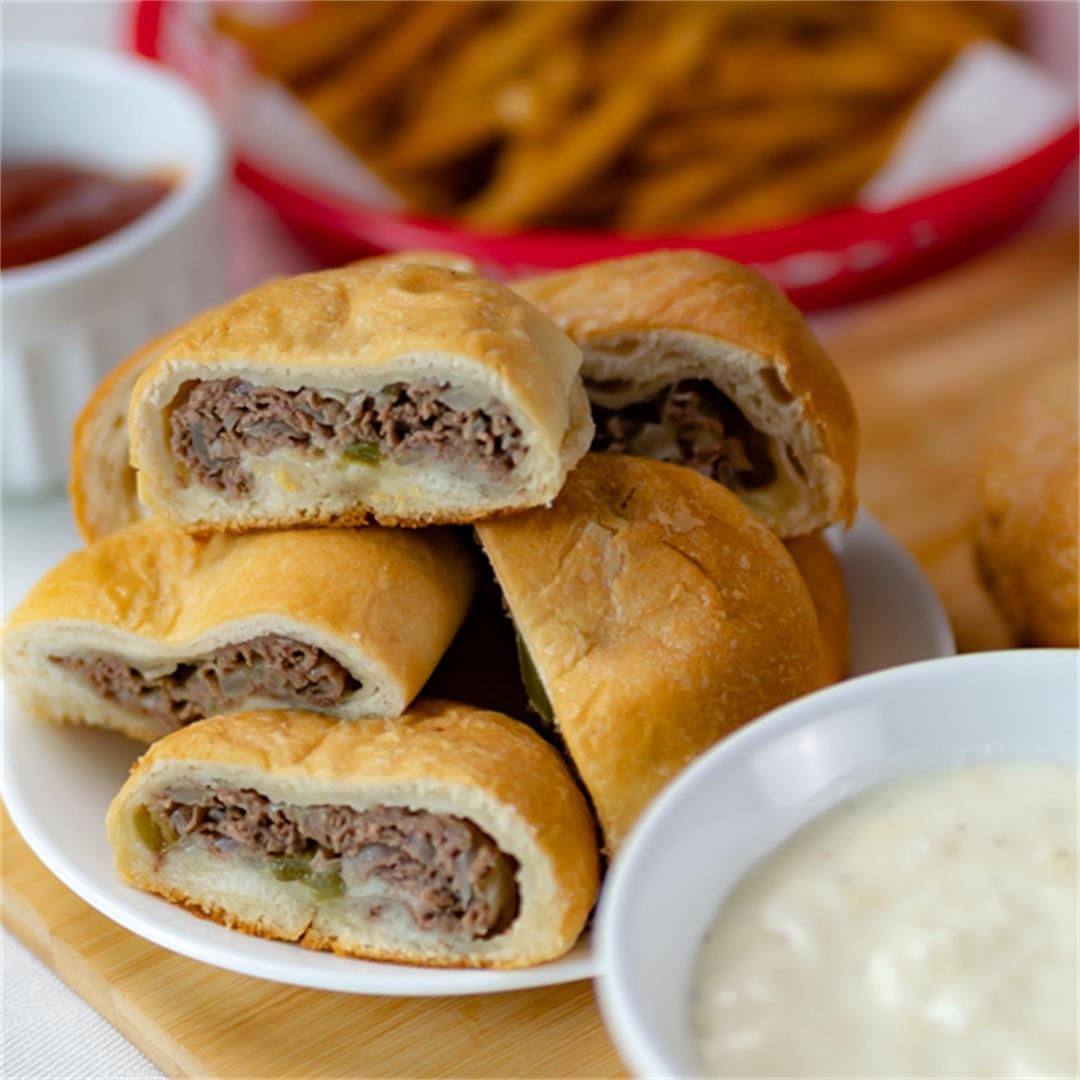 Philly Steak and Cheese Bombs with Philly Cheese Sauce