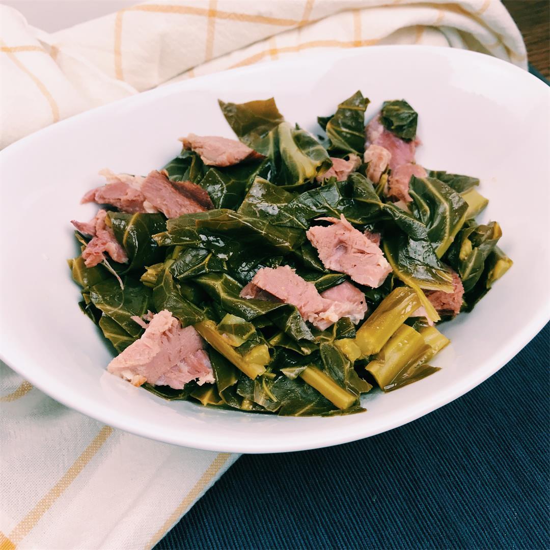 Pressure Cooker Collard Greens with Smoked Ham Hock