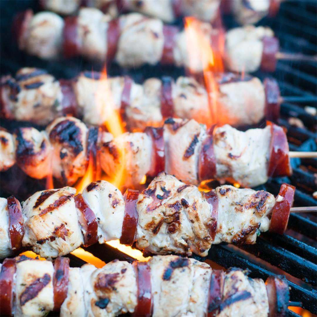 Marinated Chicken and Chouriço Kabobs