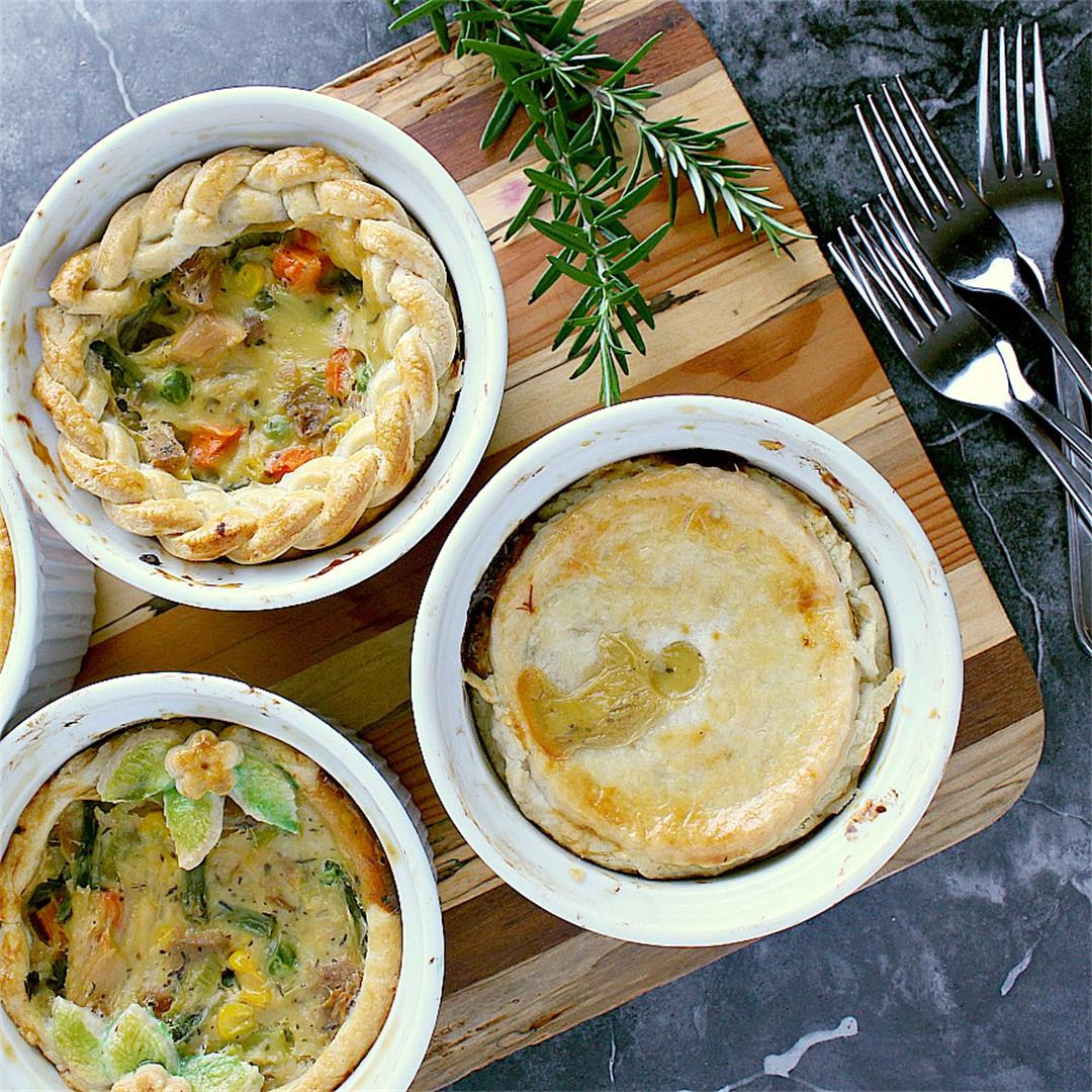 Individual Turkey Pot Pies with Leftover Turkey