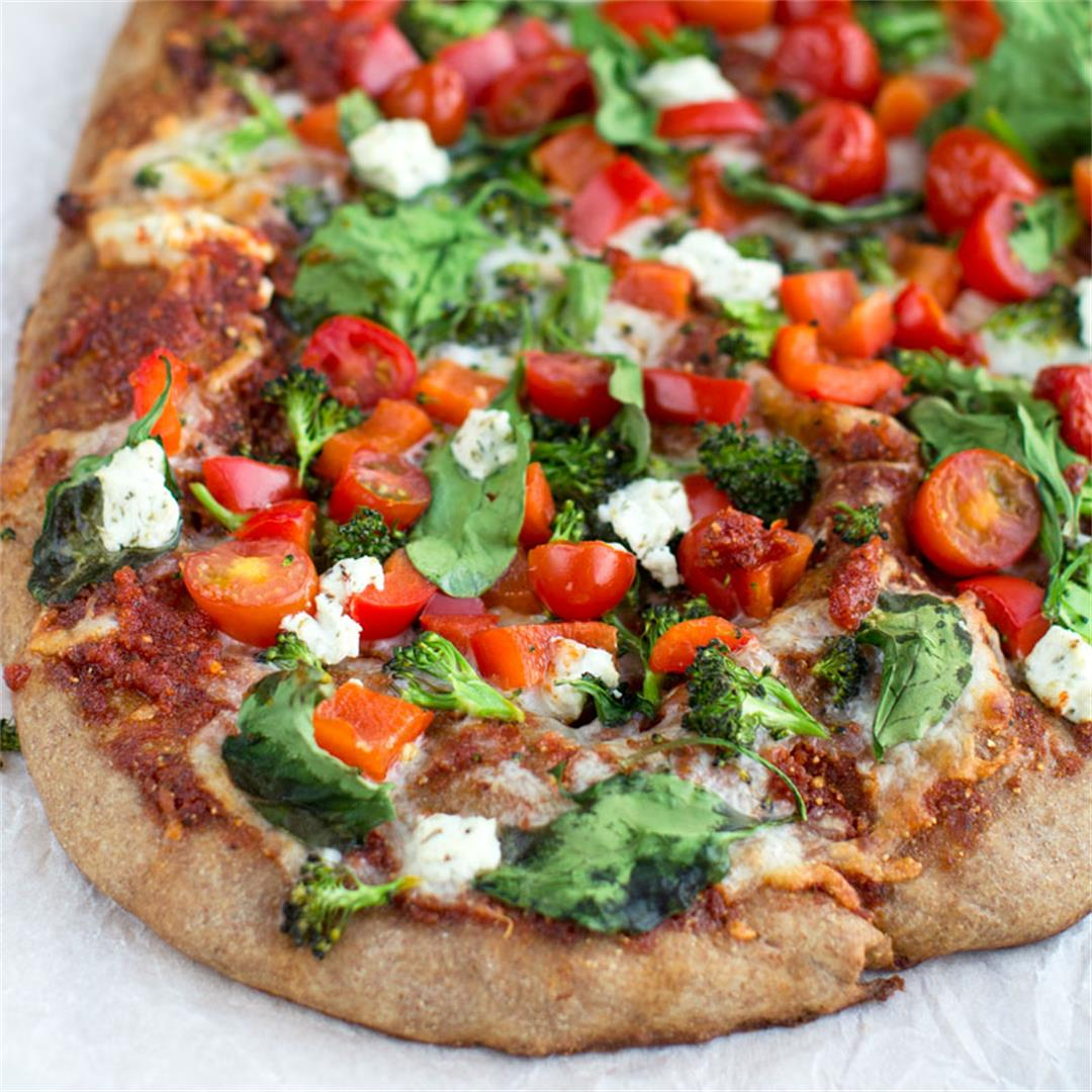 Veggie Sun Dried Tomato Pesto Pizza