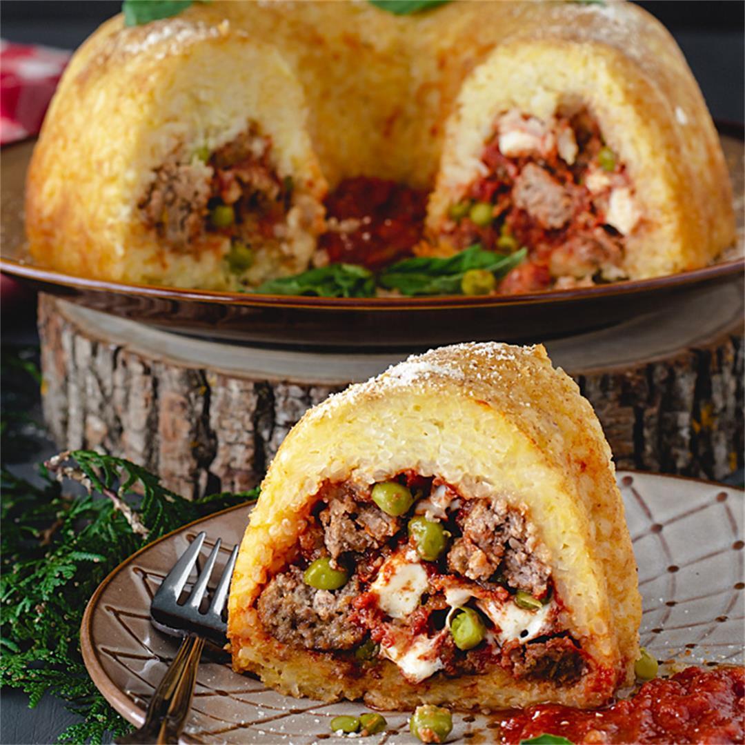 Neapolitan Sausage Meatballs and Rice Timbale