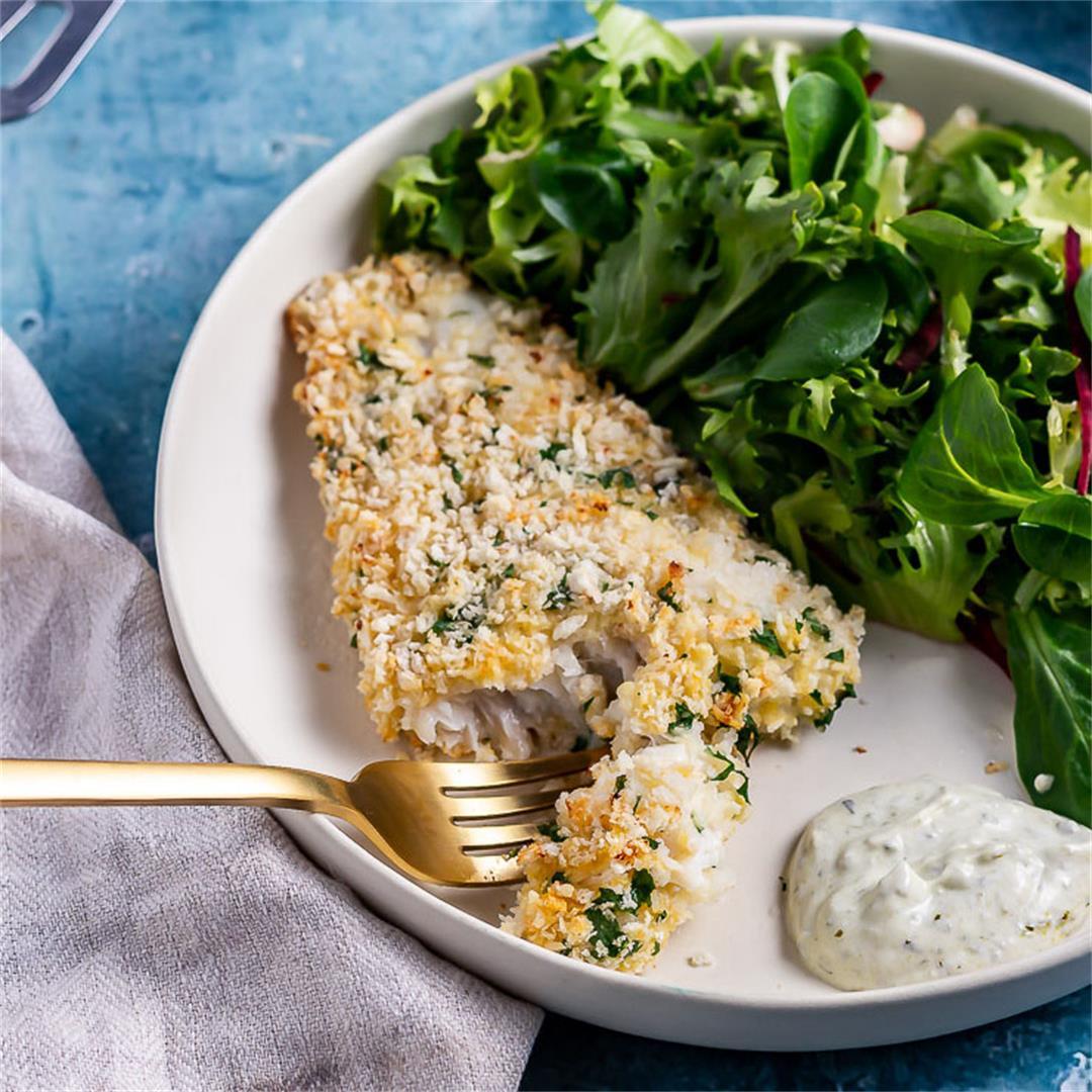 Parmesan Breaded Fish with Pesto Yoghurt Dip