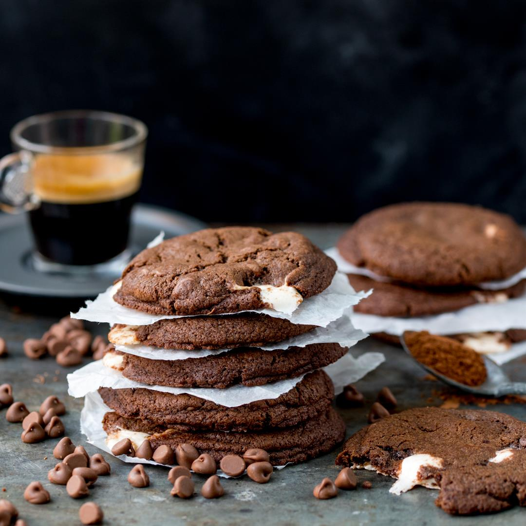 Chewy Chocolate Nougat Cookies